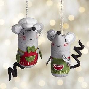 Baking Mouse with Apron Ornaments | Crate and Barrel