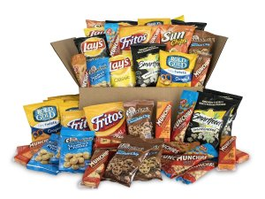 Sweet & Salty Snack Box, Variety of Cookies, Crackers, Chips & Nuts, 50 Count Pack