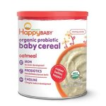 Happy Baby Organic Probiotic Baby Cereal with DHA & Choline, Oatmeal, 7 Ounce