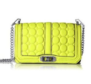 $110.92 Rebecca Minkoff Love with Circle Quilt Cross Body Electric Yellow