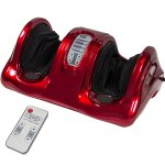 Shiatsu Foot Massager Kneading and Rolling Leg Calf Ankle with Remote, Red