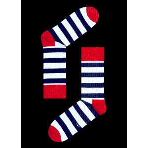 Design Socks with White, Blue and Red Stripes. Buy Happy Feet Socks Online at hssweden.ca