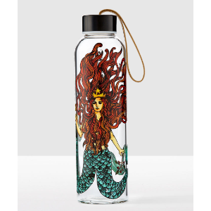 Siren Glass Water Bottle with Leather Strap