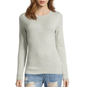 Hayden Light Grey Cashmere Rib Knit Perforated V Sweater (372830702) | Bluefly