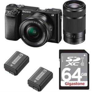 $698Sony Alpha a6000 Mirrorless Camera w/ 16-50 and 55-210 Lenses +2 Battery Kit + 64GB Card