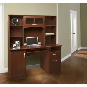 Realspace Landon Desk with Hutch 64 H x 55 12 W x 23 D Cherry by Office Depot & OfficeMax