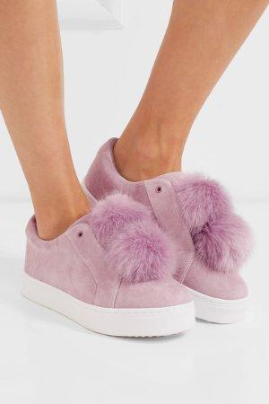 10% Off SAM EDELMAN Leya faux fur-embellished suede slip-on sneakers @ NET-A-PORTER