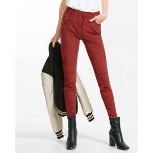 mid rise faux suede ankle legging
