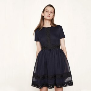 ROSS Basket knit dress with guipure - Dresses - Maje.com