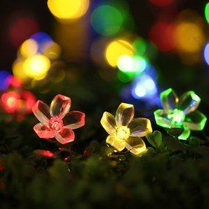Qedertek 6.4米美丽花束太阳能线灯,50个LED灯