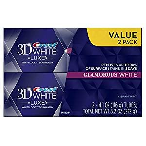 Crest 3D White Luxe Glamorous White, Vibrant Mint Flavor Whitening Toothpaste - 4.1 Oz Ea, Twin pack