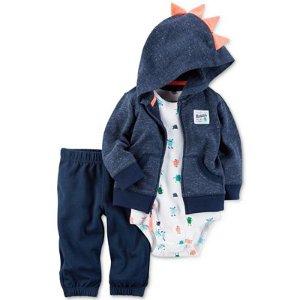 Carter's 3-Pc. Dino Spike Hoodie, Bodysuit & Pants Set, Baby Boys (0-24 months) - Carter's - Kids & Baby - Macy's