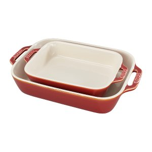 Staub Ceramic 2-pc Rectangular Baking Dish Set - Rustic Red
