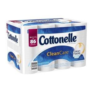 Cottonelle CleanCare Toilet Paper Bath Tissue, 36 Family Rolls