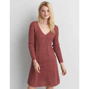 AEO V-Neck Fit & Flare Sweater Dress, Mauve | American Eagle Outfitters
