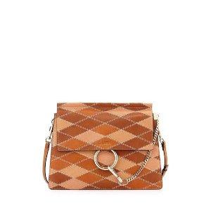 Chloe Faye Patchwork Leather Shoulder Bag, Caramel