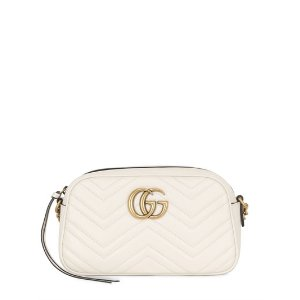 GUCCI - SMALL GG MARMONT 2.0 LEATHER BAG - SHOULDER BAGS - OFF WHITE - LUISAVIAROMA