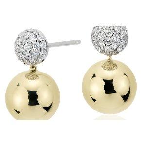 Blue Nile Studio Diamond Pavé Ball Drop Earrings in 18k White & Yellow Gold (2/5 ct. tw.) | Blue Nile