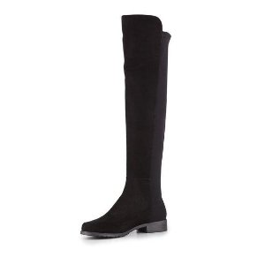 Stuart Weitzman 50/50 Suede Stretch Over-the-Knee Boot, Black