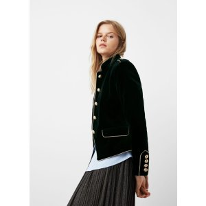 Trims velvet jacket - Jackets for Woman