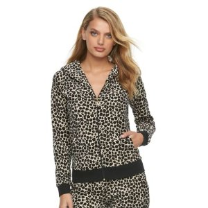 Women's Juicy Couture Leopard Velour Hoodie Jacket