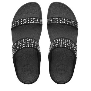Novy™ Suede Slide Sandals, Black | FitFlop™ US