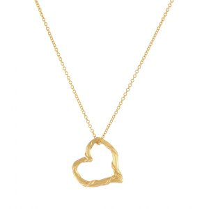 Heritage Floating Heart Pendant Necklace in 18K Yellow Gold Mini