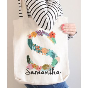 Morado Designs White Floral Monogram Personalized Tote | zulily