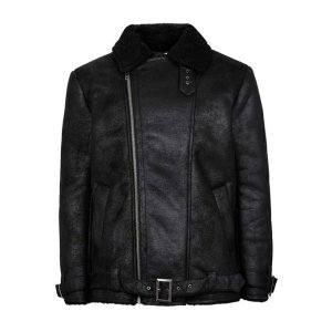 Black Faux Shearling Lined Biker Jacket - TOPMAN USA