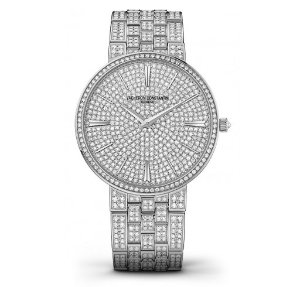 Vacheron Constantin Traditionnelle 18 Carat White Gold Diamond Pave Dial Men's Watch