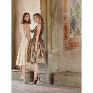 Exclusive Gold Lace Illusion-Neck Dress - Sale