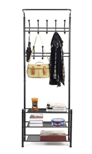 Homfa  Fashion Heavy Duty Garment Rack with Shelves 3-Tier Shoes Rack