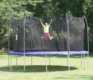 $239 Skywalker Trampolines 14' Round Trampoline and Enclosure with Wind Stakes