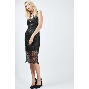 TALL Lace Plunge Midi Dress - Tall - Clothing - Topshop USA