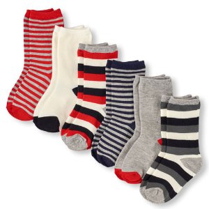 Boys Striped And Solid Crew Socks 6-Pack   The Children's Place
