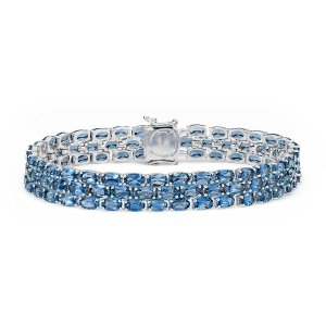 Trio Oval London Blue Topaz Bracelet in Sterling Silver (5x3mm) | Blue Nile