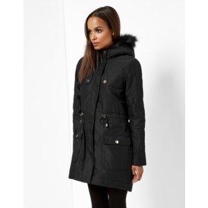 Faux fur parka jacket - Black | Jackets & Coats | Ted Baker