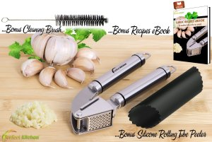 iPerfect Kitchen Stainless Steel Garlic Press Complete Bundle