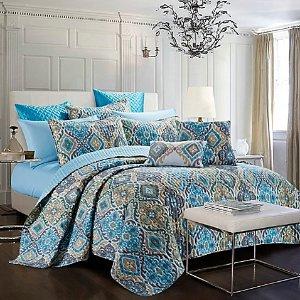 Bellina Reversible Quilt Set in Blue/Gold - Bed Bath & Beyond