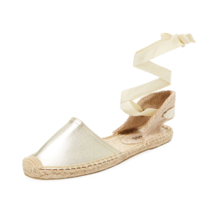 Classic Leather Ankle-Wrap Espadrille by Soludos at Gilt