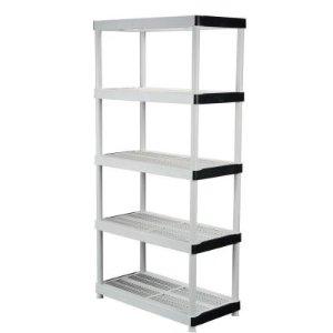 5-Shelf Plastic Ventilated Storage Shelving Unit