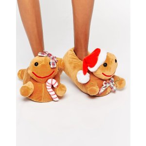 ASOS | ASOS NEWLYBREADS Holidays Gingerbread Slippers