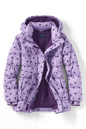 Girls Fashion Down Flocked Parka @ Land's End