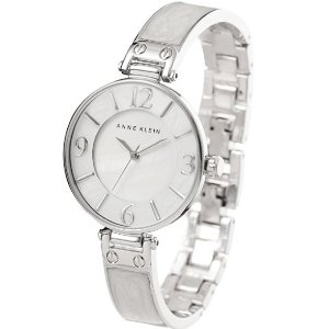 $31.20 Anne Klein Women's AK/2211WTSV Silver-Tone and White Marbleized Bangle Watch