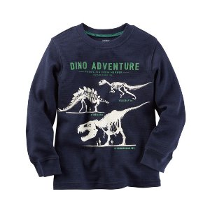 Baby Boy Long-Sleeve Glow-In-The-Dark Dinosaur Graphic Tee | Carters.com