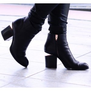 Alexander Wang Gabi Leather Block-Heel Booties