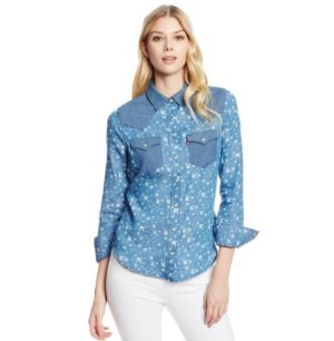 Lowest price! From $17.88 Levi's Women's Printed Denim Color Blocked Annie Shirt