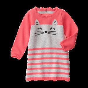 Toddler Girls Bright Pink Stripe Kitty Sweater Dress by Gymboree