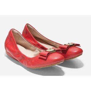 Women's Tali Bow Ballet Flats in Poppy Leather | Cole Haan