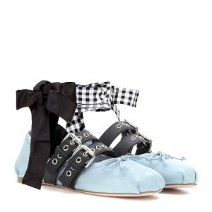 Miu Miu - Buckle-embellished leather ballerinas